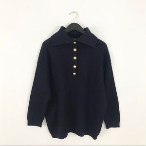 Escada Sweater 42 Large Navy Blue Ribbed Gold